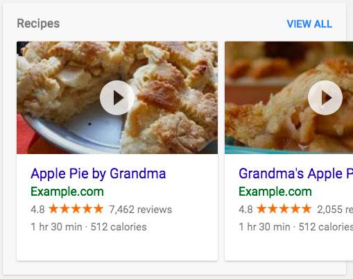 Exemple Rich Snippets de type recette