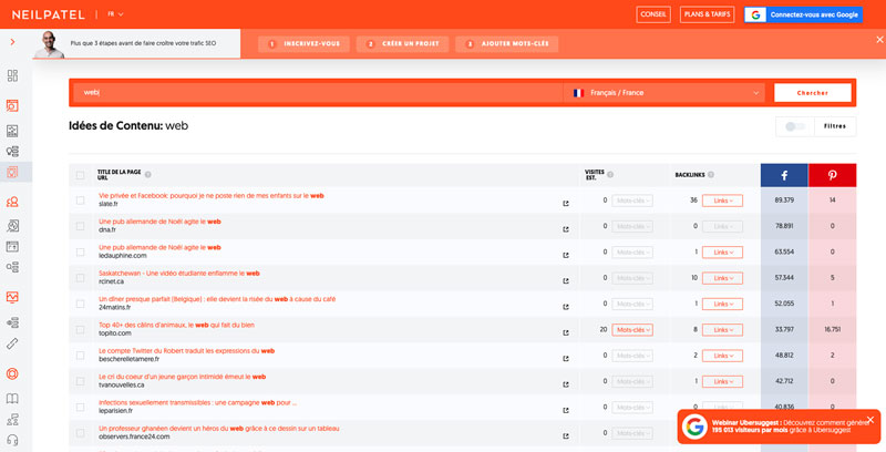 Suggestion de contenus sur Ubersuggest